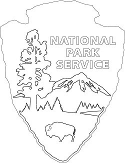 NPS arrowhead in black and white outline showing NATIONAL PARK SERVICE on top right, trees, lake and mountain range in center and bison on lower center.