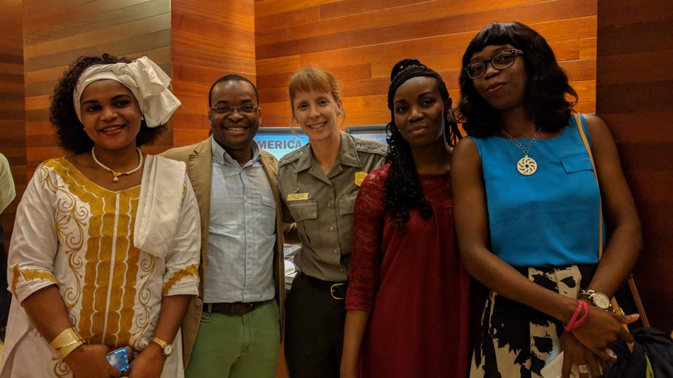 Superintendent Becky Burghart makes new friends with Equatorial Guinea