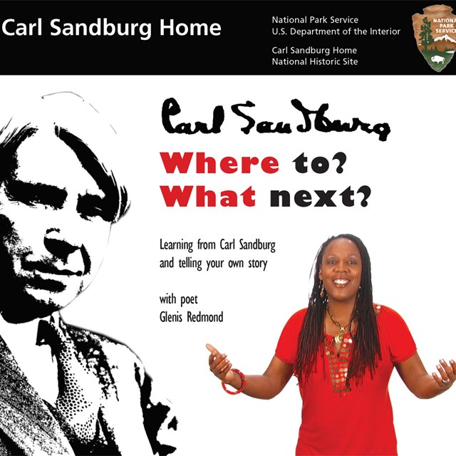 Black and white sketch of Carl Sandburg and an image of poet Glenis Redmond with words