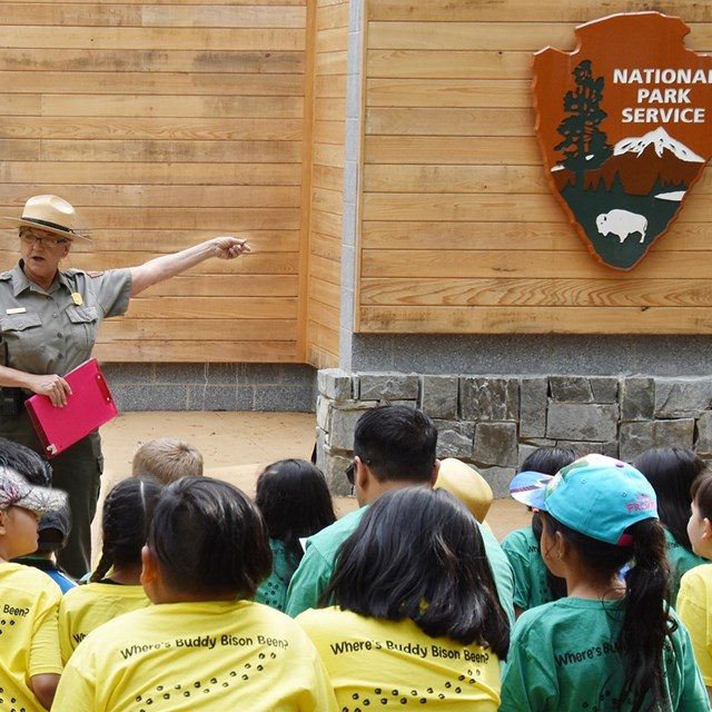 Park ranger leads students through an activity