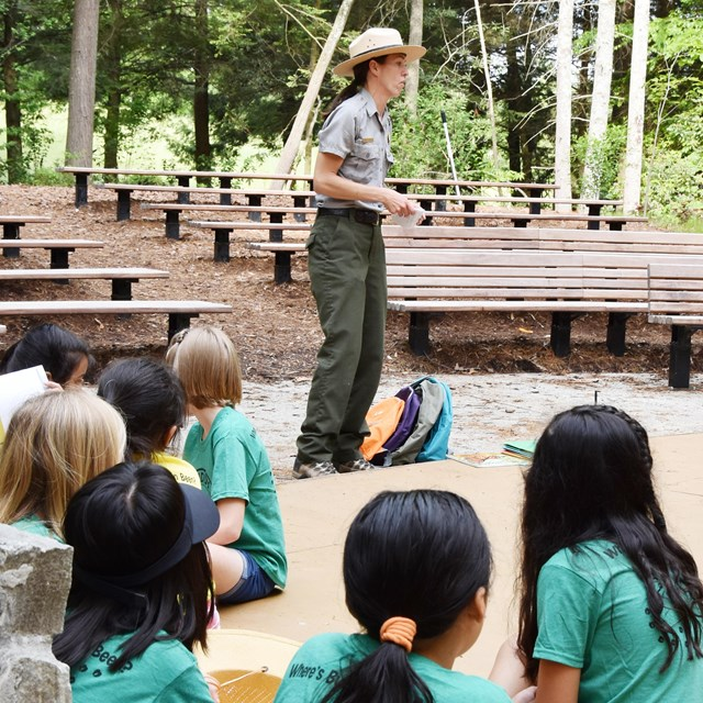 Ranger shares a lesson with students