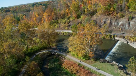 The Canal Diversion Dam viewed from above during the fall.