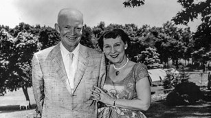 Ike and Mamie Eisenhower pose for a picture at their home in Gettysburg, PA.