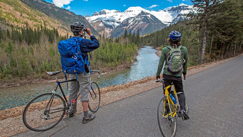 Two bikers enjoy the Going-to-the-Sun Road.