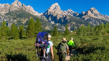 A group of people hiking with a Ranger with the Grand Teton in the distance.