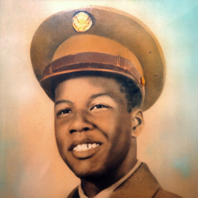 Color painting of Rosamond Johnson in his Army uniform.