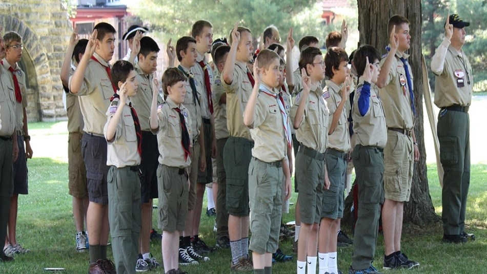 Group of boy scouts on grounds at Garfield home