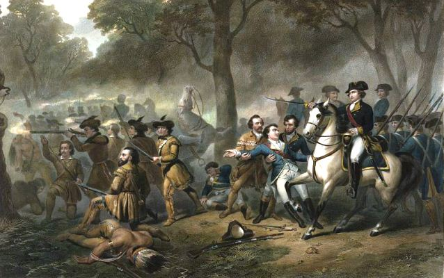 George Washington on a horse during battle