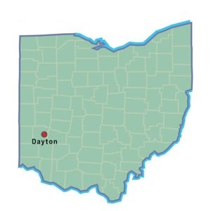 State map with Dayton starred