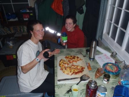 eating pizza in the cabin
