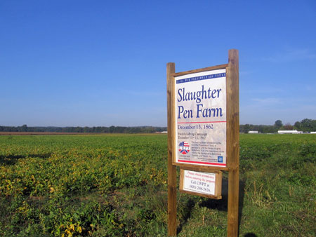 Civil War Preservation Trust sign at Slaughter Pen Farm