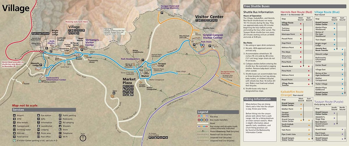 a portion of the South Rim Pocket Map that shows Grand Canyon Village with shuttle bus routes as colored lines. on the right; shuttle bus information and schedules.