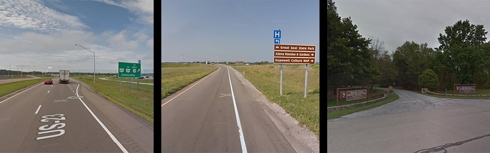 Pictures of a highway with highway signs and an exit ramp with landmark signs