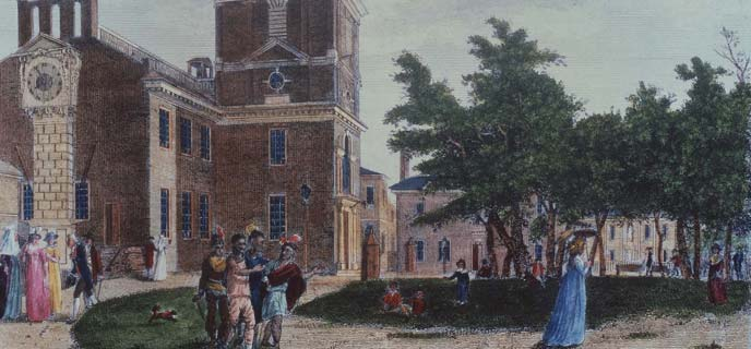 Color illustration showing of the Birch view from 1799 showing the back of the State House, with a group of Native Americans strolling in the foreground, other people walking on paths nearby, and a large red brick building behind them.