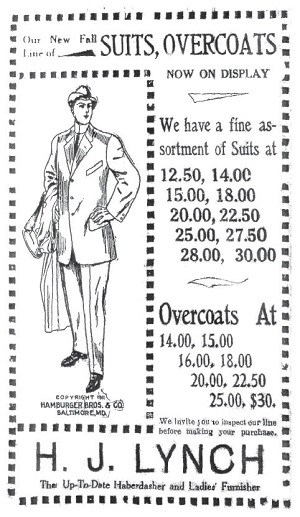"Black and white historic ad with main text reading ""Suits, Overcoats"" and ""H.J. Lynch The up-to-date haberdasher and ladies' furnisher."""