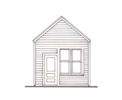 Line drawing of the front of a small building.
