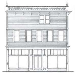 Line drawing of square building with large windows on the first floor.