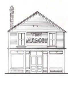 "Line drawing of historic building with ""The Mascot"" sign on second story."