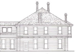 Line drawing of large building with four chimneys.