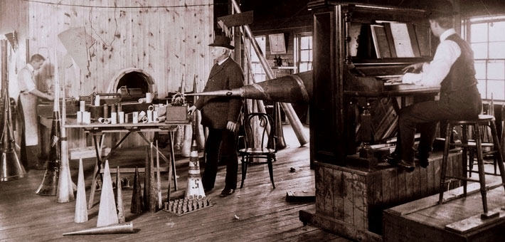 Historical photo of Theo Wangemann working on a phonograph recording