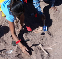 students excavate replica archeological artifacts
