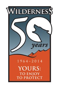 "The logo for the Wilderness Act's 50th Anniversary: ""Wilderness 50 Years; 1964-2014; Your to Enjoy and to Protect."""
