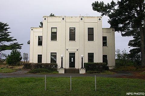 A white art deco building used by RCA for wireless radio reception.