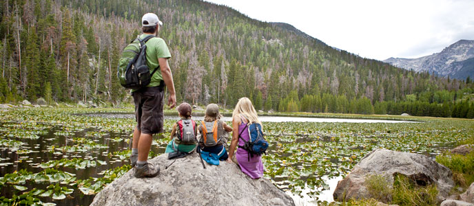 A family looks at Cub Lake