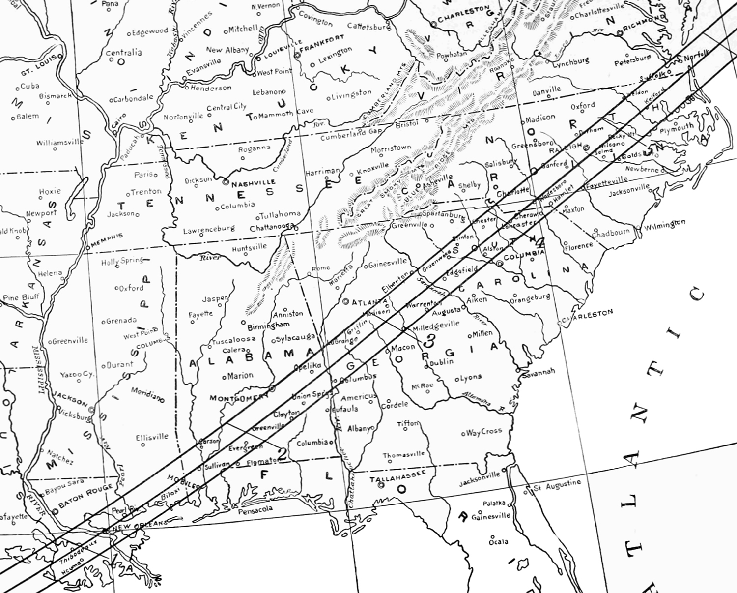 Map 1: Path of Totality during the May 28, 1900 Solar Eclipse. Black and white map of southeastern united states shows three lines crossing the states of Mississippi, Georgia, South Carolina, and North Carolina.
