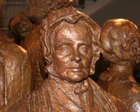 bronze statue of Lucretia Mott in the lobby of the park visitor center