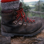 A close-up of a hiking boot.