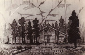 historic drawing of museum building on old paper