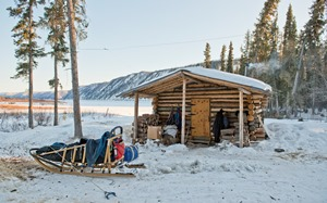 Kandik public use cabin in winter