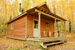 Slaven's public use cabin in fall