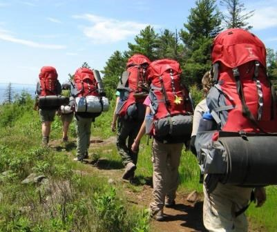 Backpacking group along park trail