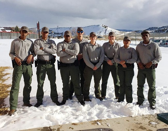 Trainees at a seasonal law enforcement park ranger training program