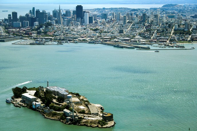 Aerial view of Alcatraz with San Francisco in the background.