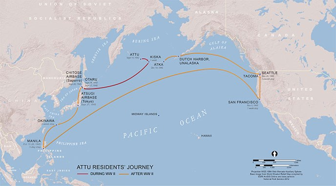 map showing the Pacific ocean and routes of prisoners, taken from Attu to Japan, then returning to America