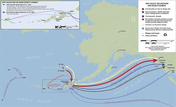 map of Alaska depicting routes from Aleutian Islands to Southeast Alaska