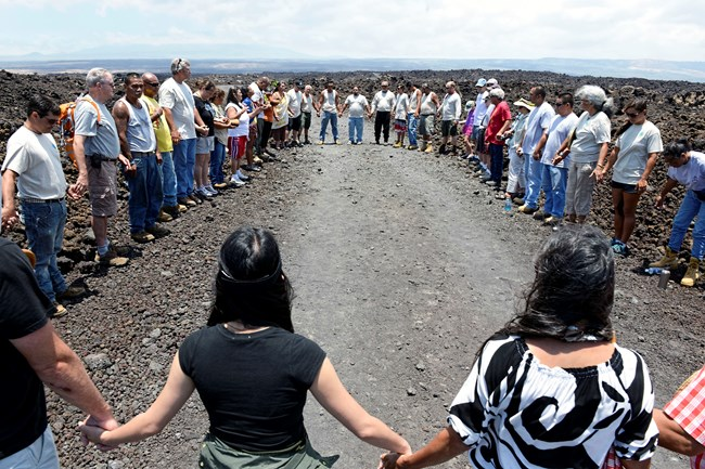 Lineal descendants, community members, federal, state, and NGO&#ʻ;s. Photo Credit: B. Kona