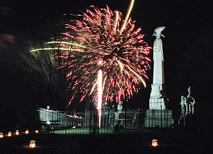 fireworks behind monument