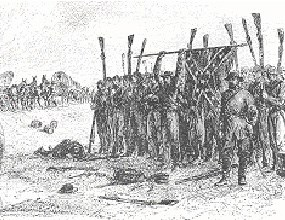 black and white hand drawn sketch showing a group of uniformed men holding up weapons and flag in surrender