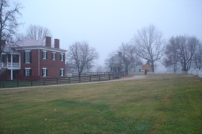 The village of Appomattox Court House on a fogging morning.