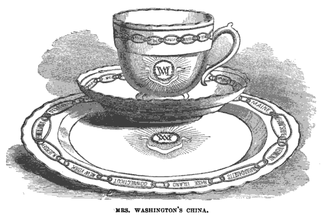 Drawing of the states porcelain by Benson Lossing
