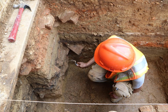 NPS Archeologists Digs a Test Unit at Arlington House