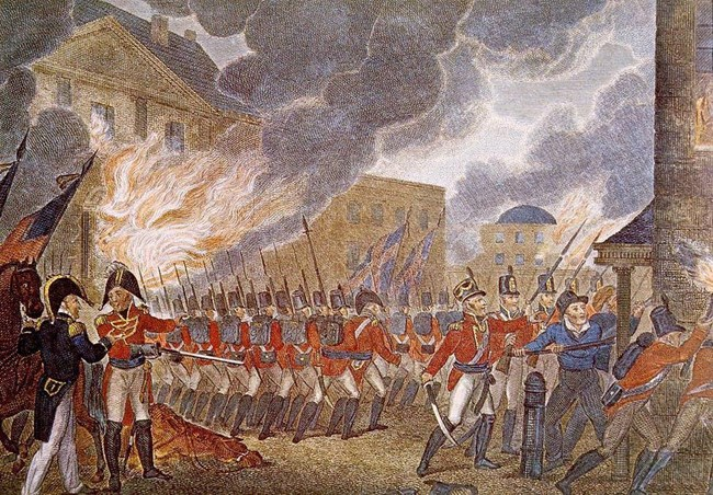 Painting of British troops marching in streets of Washington with flames consuming building behind them