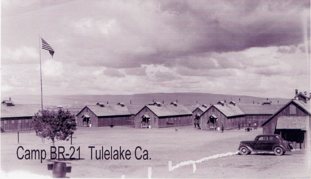 "Historic black and white photos of lines of cabins and text reading ""Camp BR-1 Tulelake Ca."""