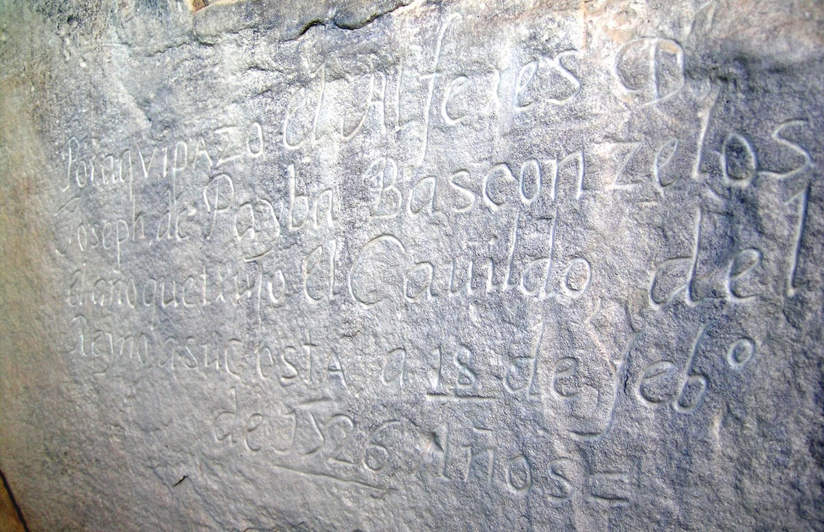 Inscriptions carved into rock