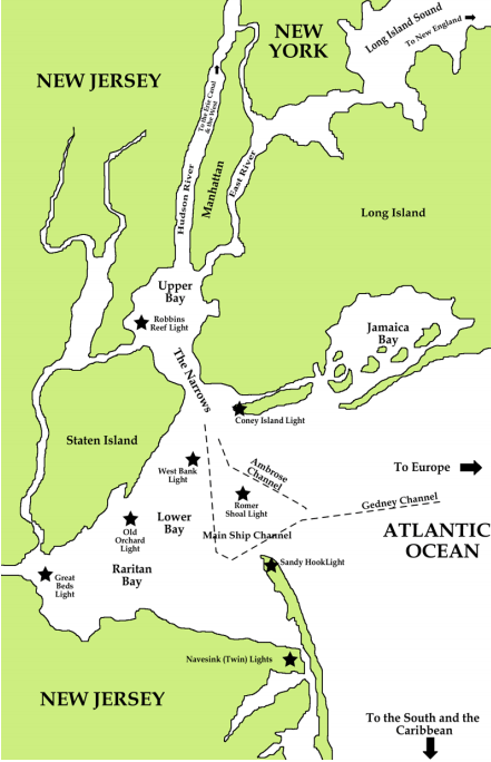 Map of New York Bay with lighthouses marked