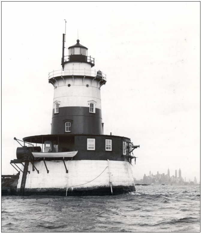 A lighthouse in the middle of the water